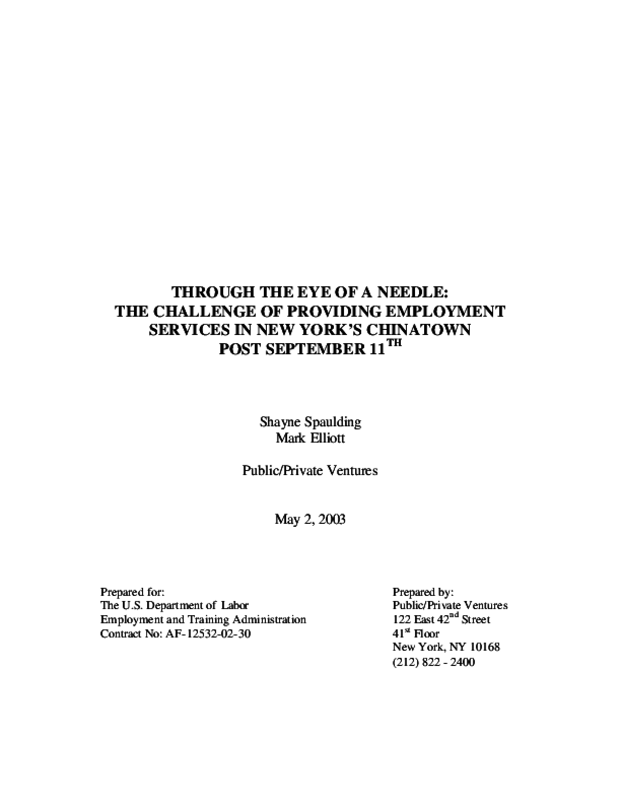 Through the Eye of a Needle: The Challenge of Providing Employment Services in New York's Chinatown Post September 11th