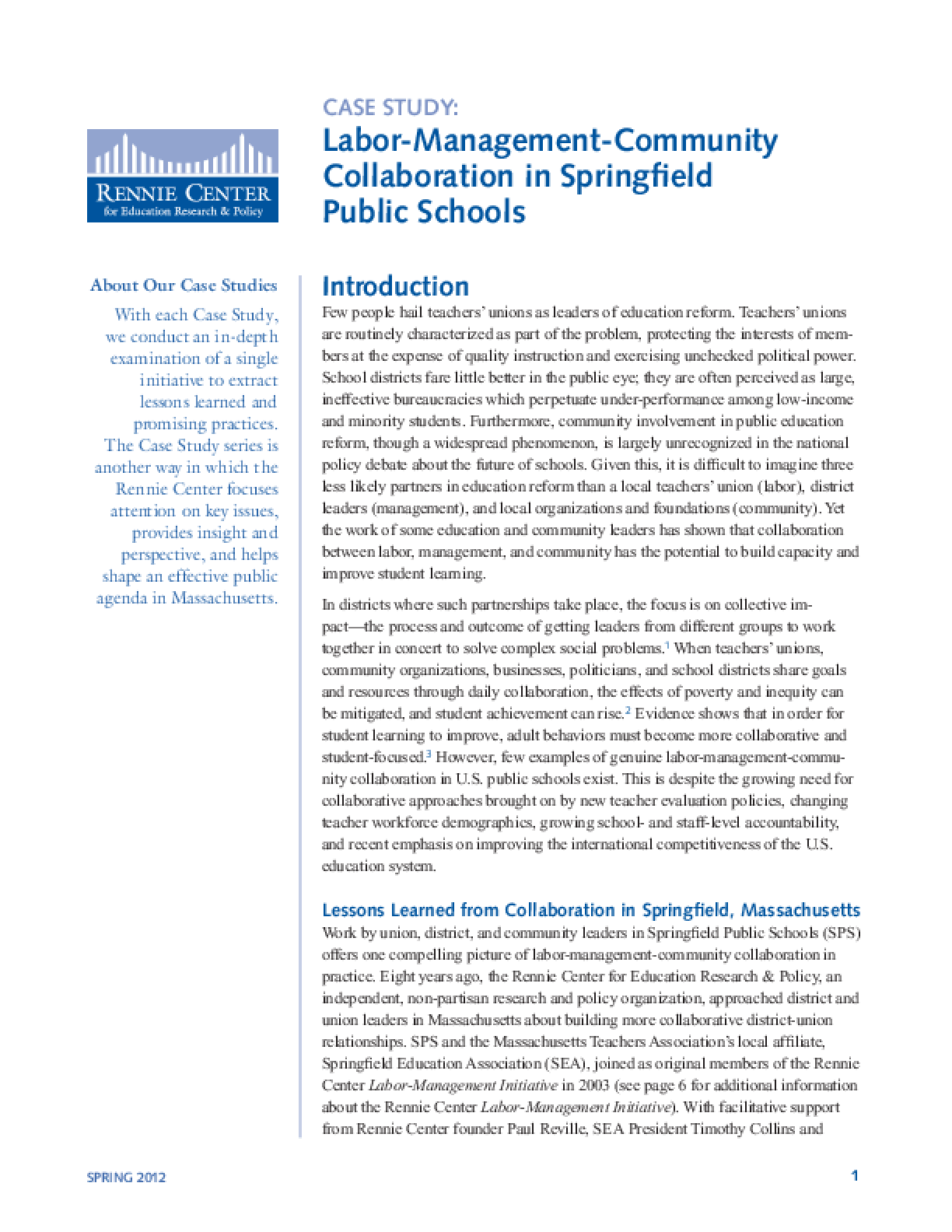 Labor-Management-Community Collaboration in Springfield Public Schools
