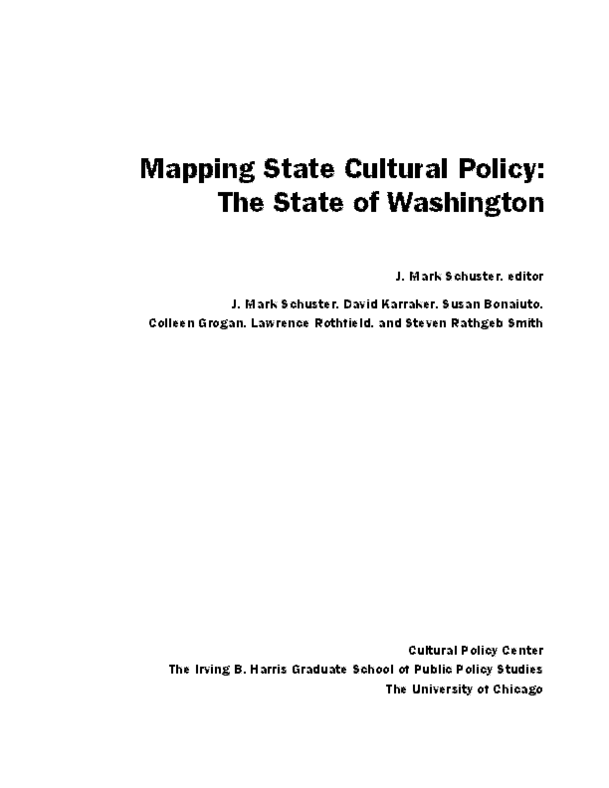 Mapping State Cultural Policy: The State of Washington