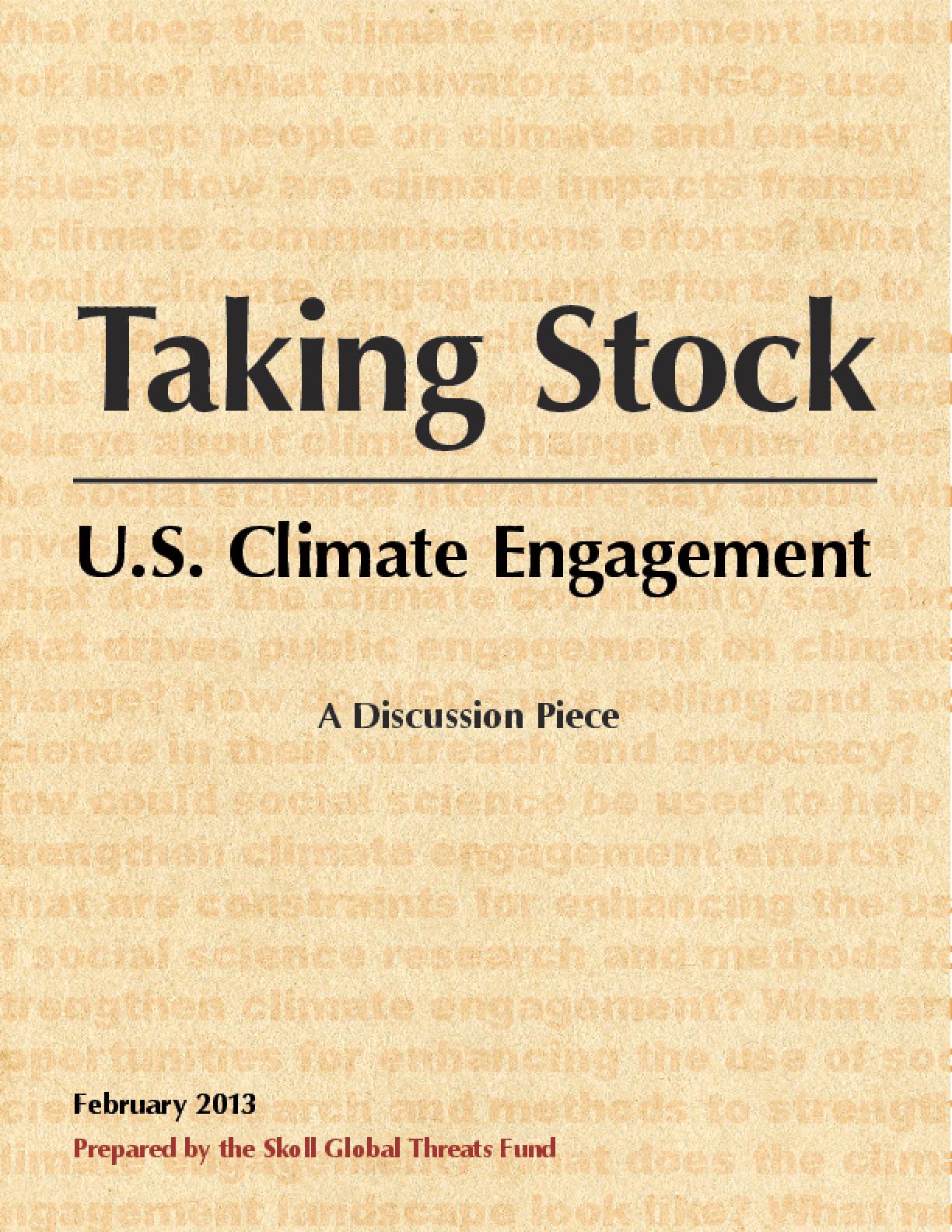Taking Stock: U.S. Climate Engagement