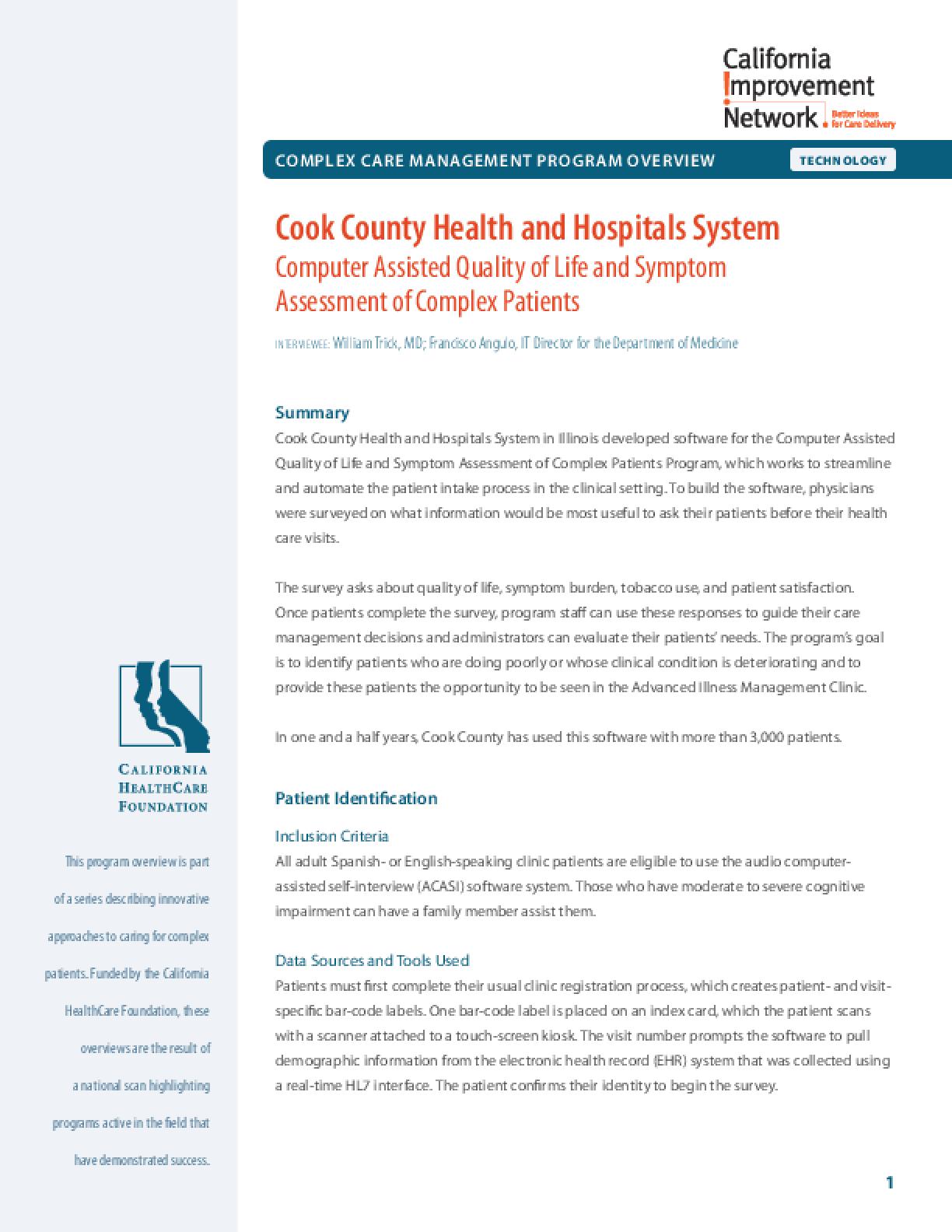 Complex Care Management Program Overview - Technology