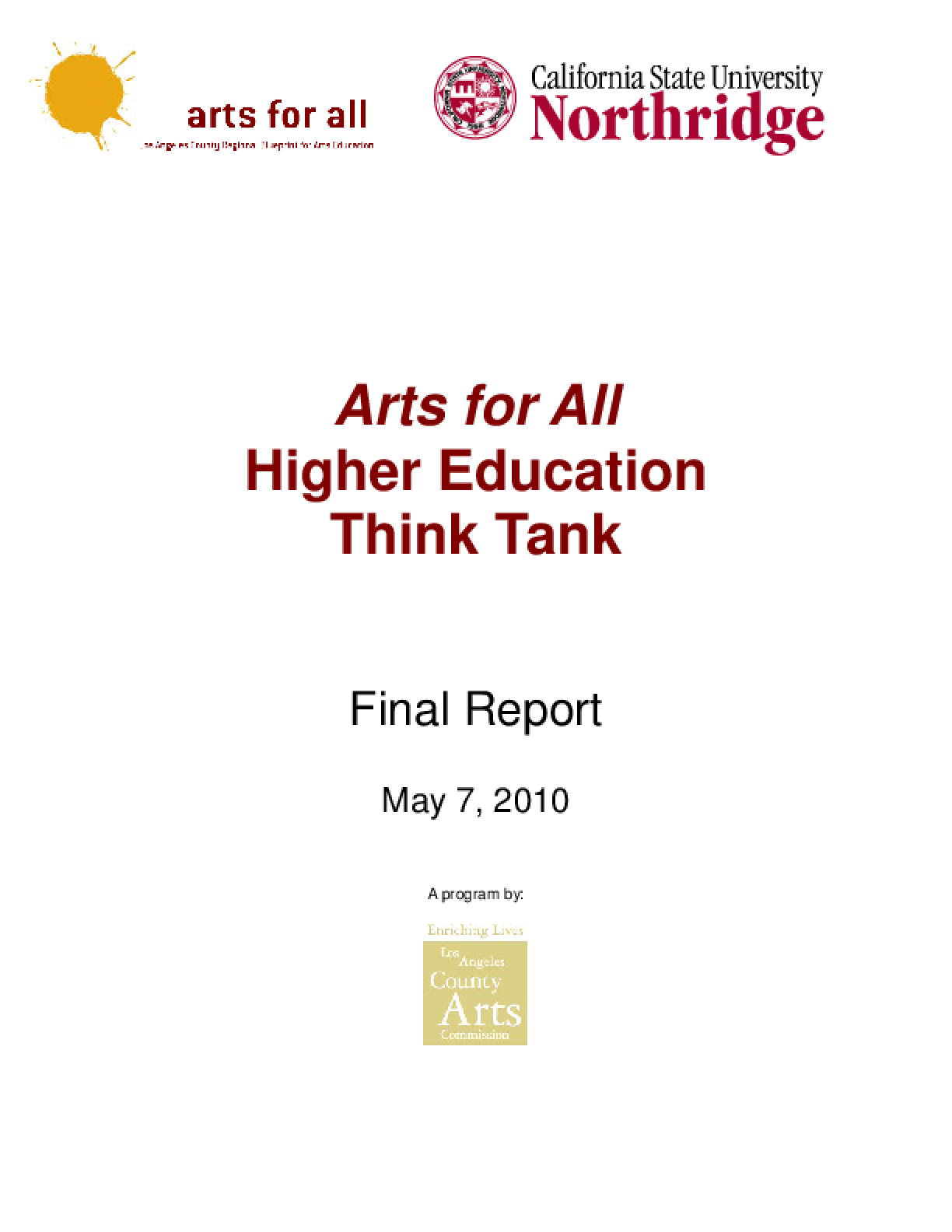 Arts for All Higher Education Think Tank