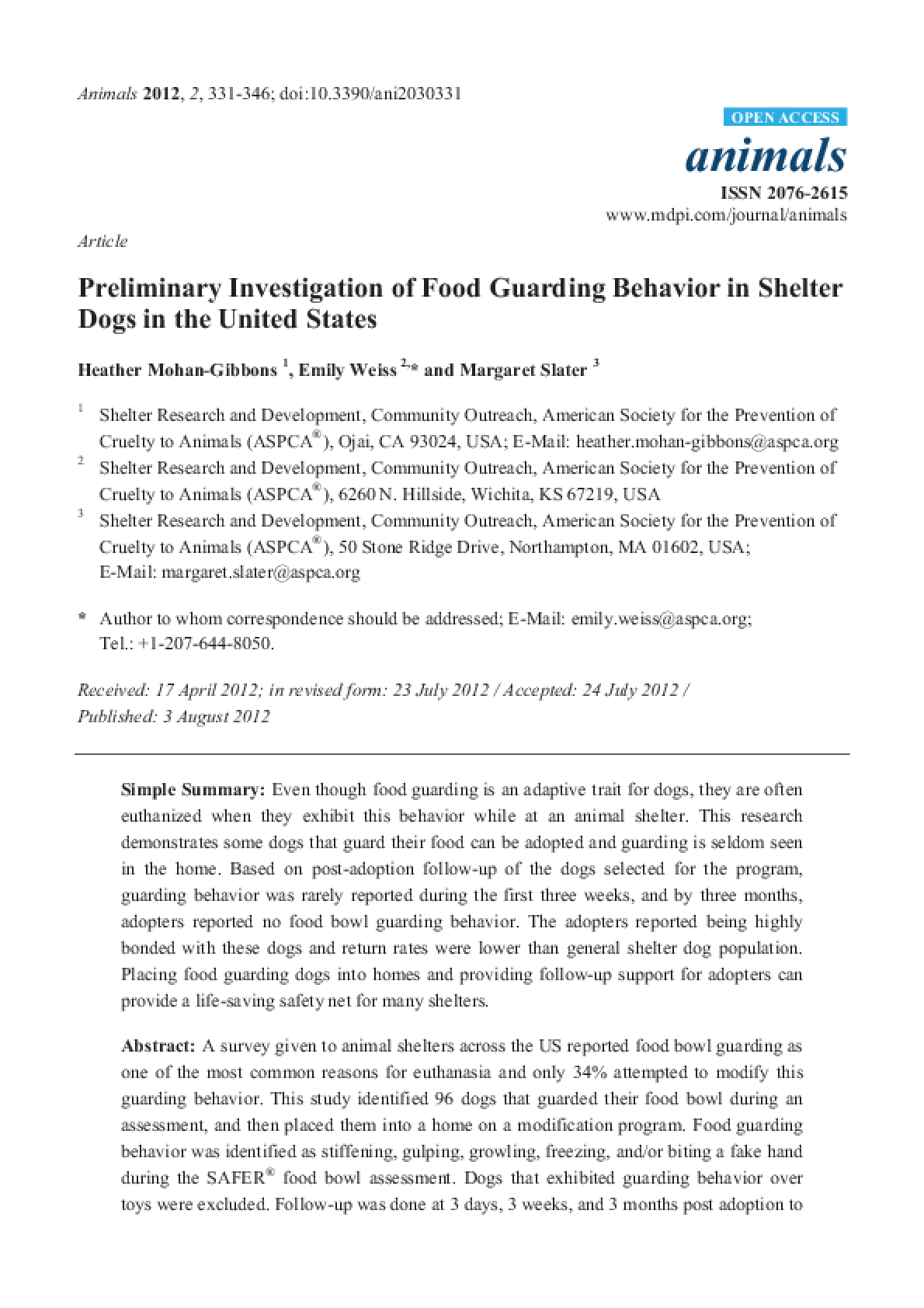 Preliminary Investigation of Food Guarding Behavior in Shelter Dogs in the United States