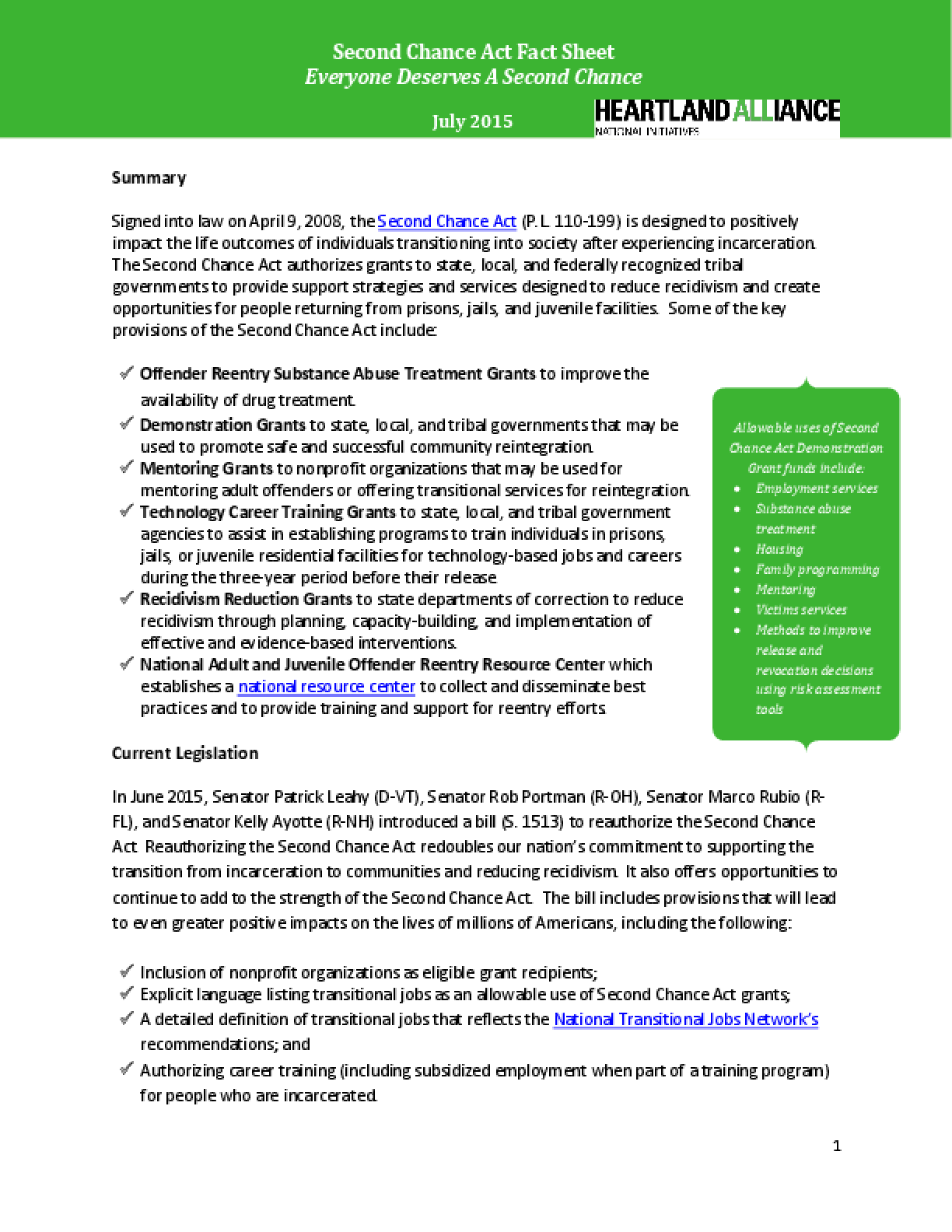 Second Chance Reauthorization Act - Fact Sheet
