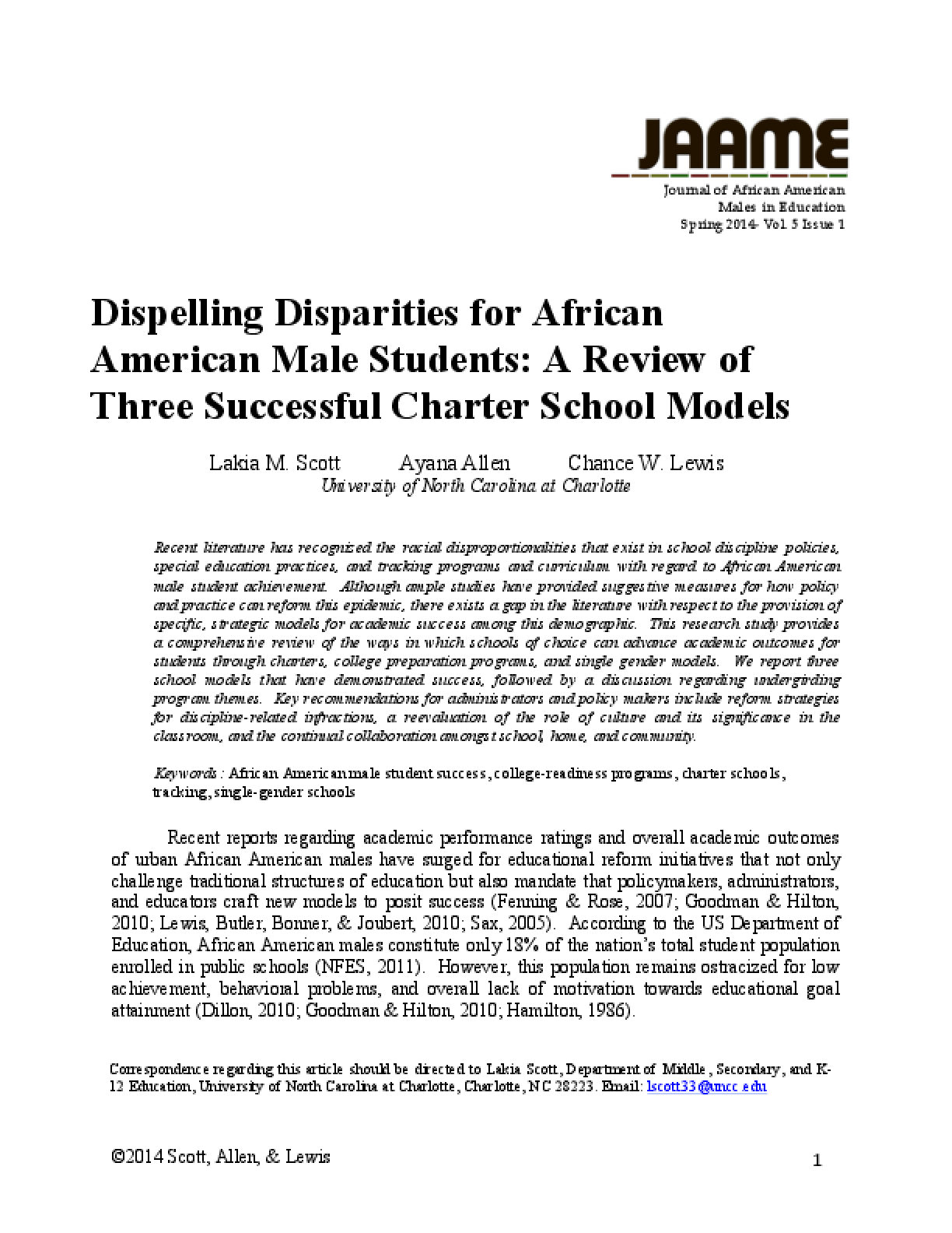 Dispelling Disparities for African American Male Students: A Review of Three Successful Charter School Models