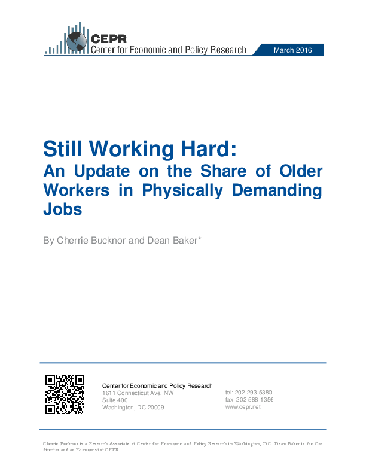 Still Working Hard: An Update on the Share of Older Workers in Physically Demanding Jobs