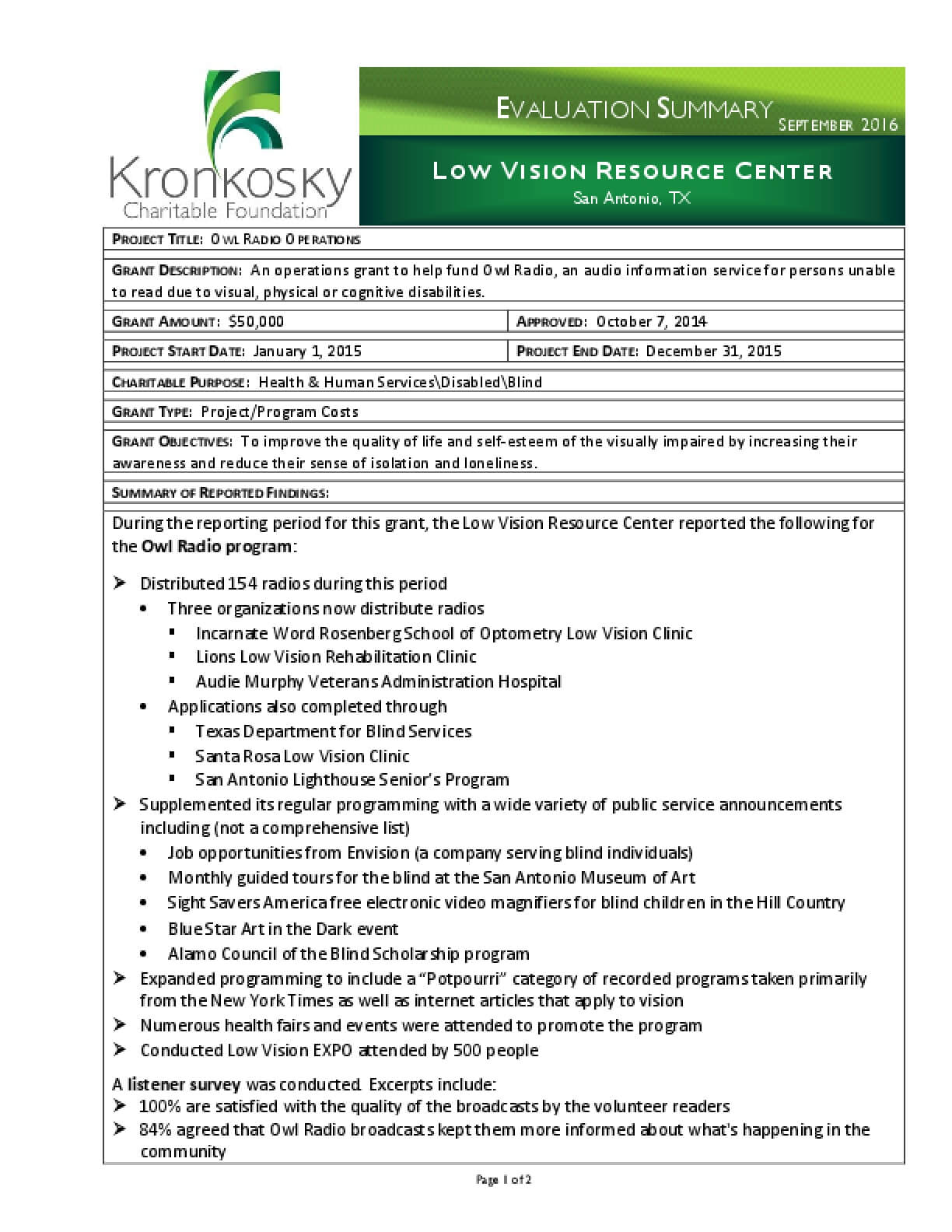 Low Vision Resource Center Evaluation Summary