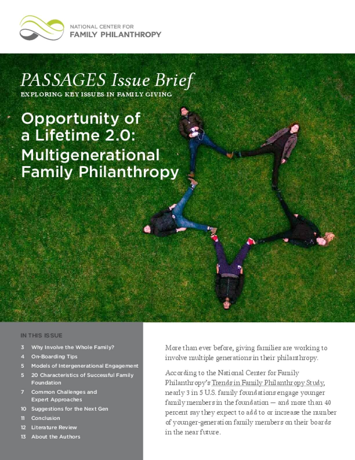Opportunity of a Lifetime 2.0: Multigenerational Family Philanthropy