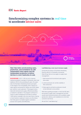 Synchronizing Complex Systems in Real Time to Accelerate Latrine Sales