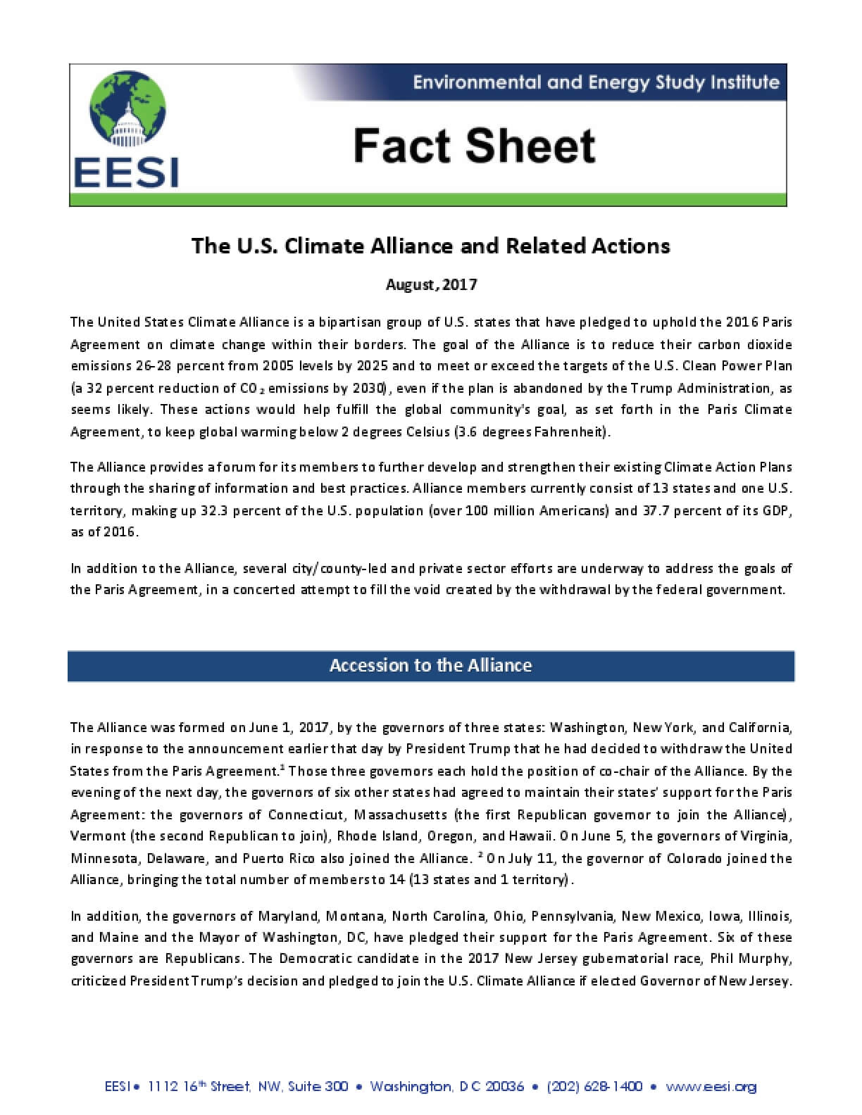 Fact Sheet: The U.S. Climate Alliance and Related Actions