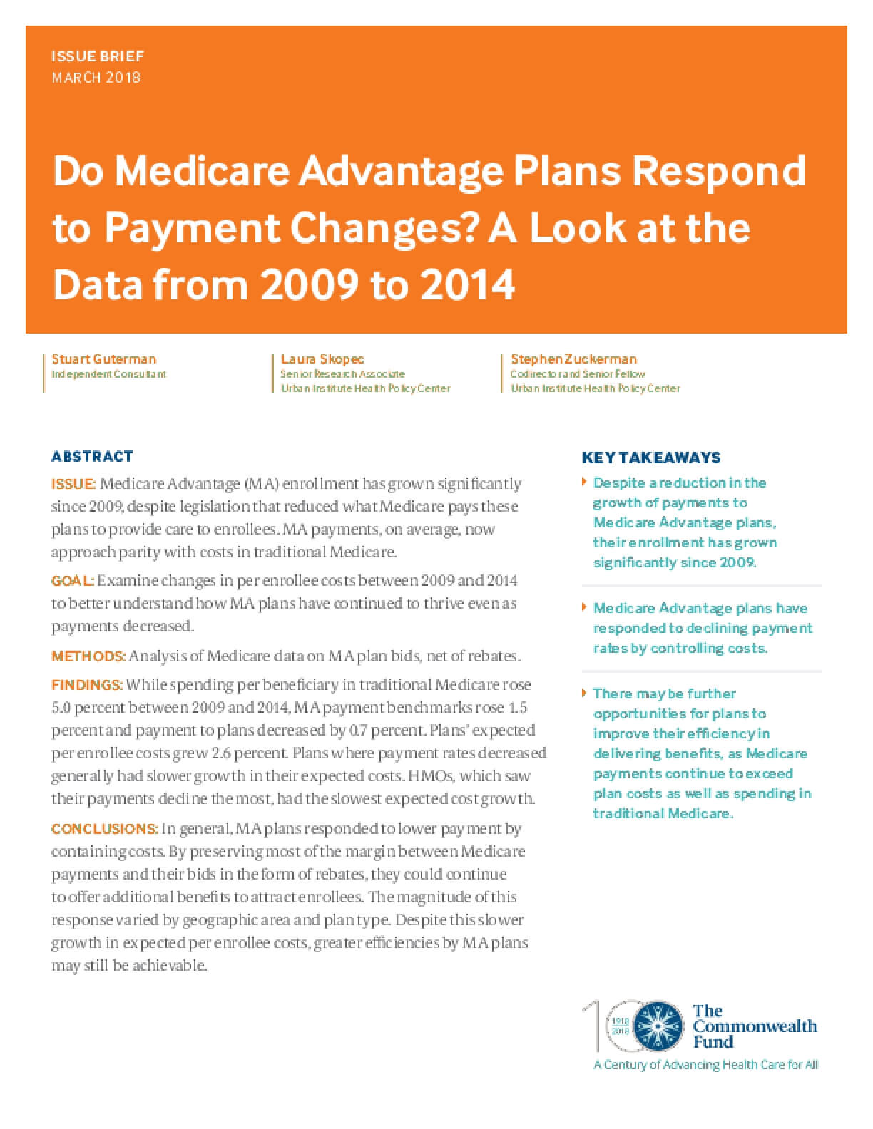 Do Medicare Advantage Plans Respond to Payment Changes? A Look at the Data from 2009 to 2014