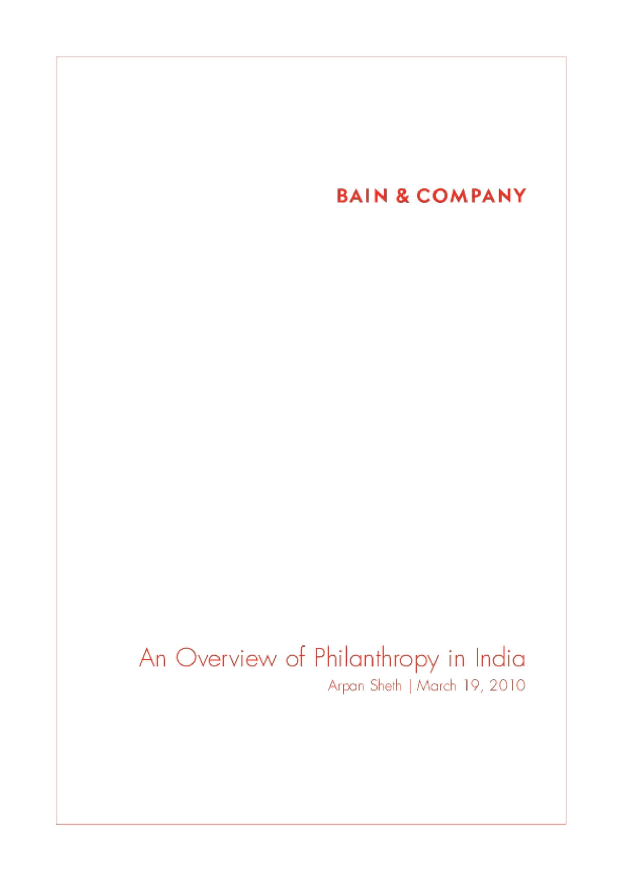 An Overview of Philanthropy in India