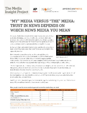 """""""My"""" Media Versus """"The"""" Media: Trust in News Depends on Which News Media You Mean"""