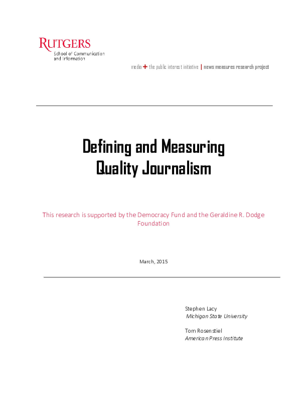 Defining and Measuring Quality Journalism
