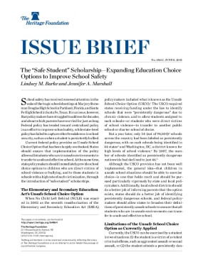 "The ""Safe Student"" Scholarship—Expanding Education Choice Options to Improve School Safety"