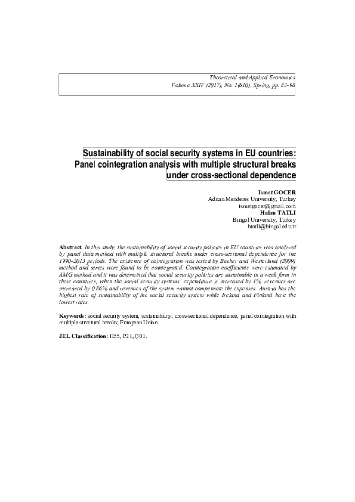 Sustainability of Social Security Systems in EU Countries: Panel Cointegration Analysis with Multiple Structural Breaks under Cross-sectional Dependence