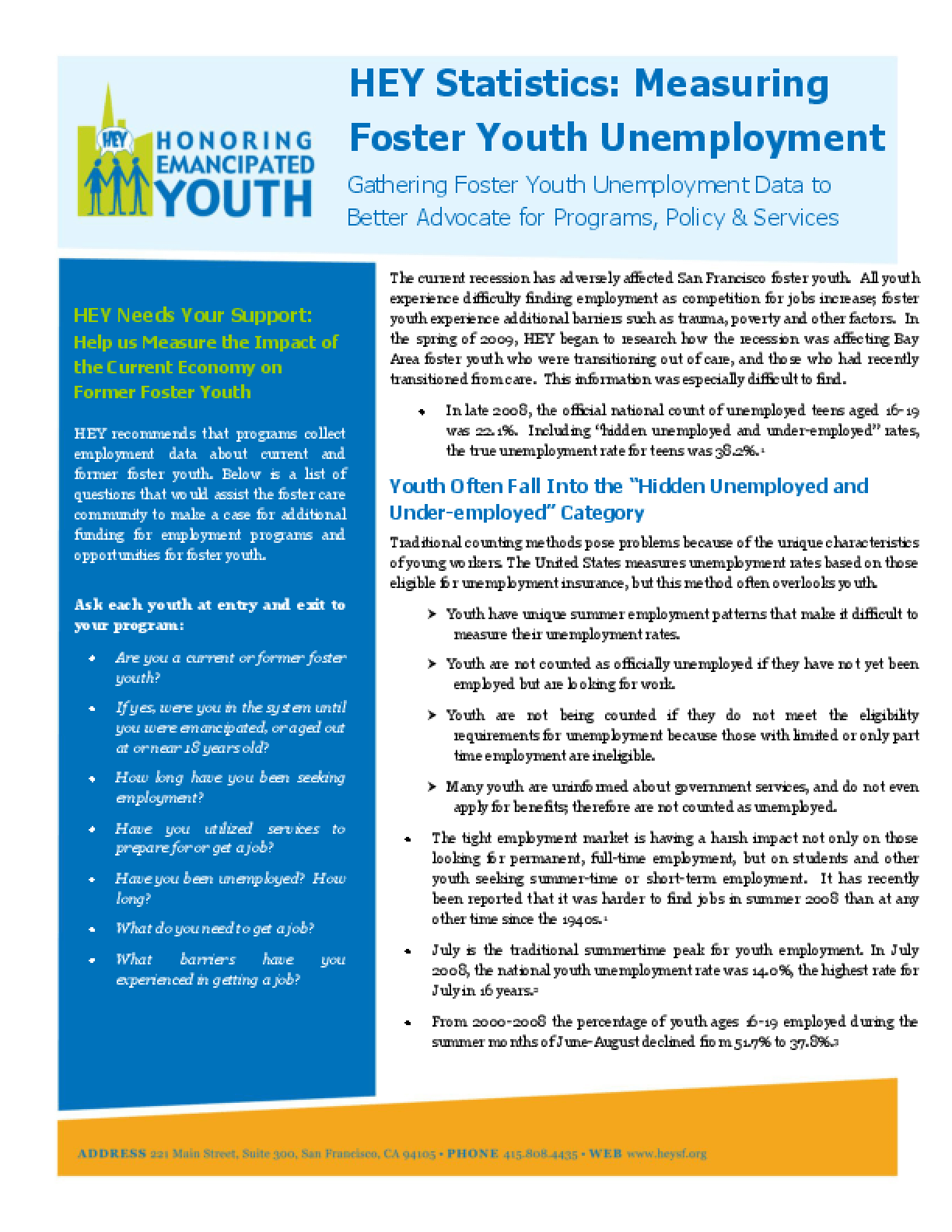 HEY Statistics: Measuring Foster Youth Unemployment