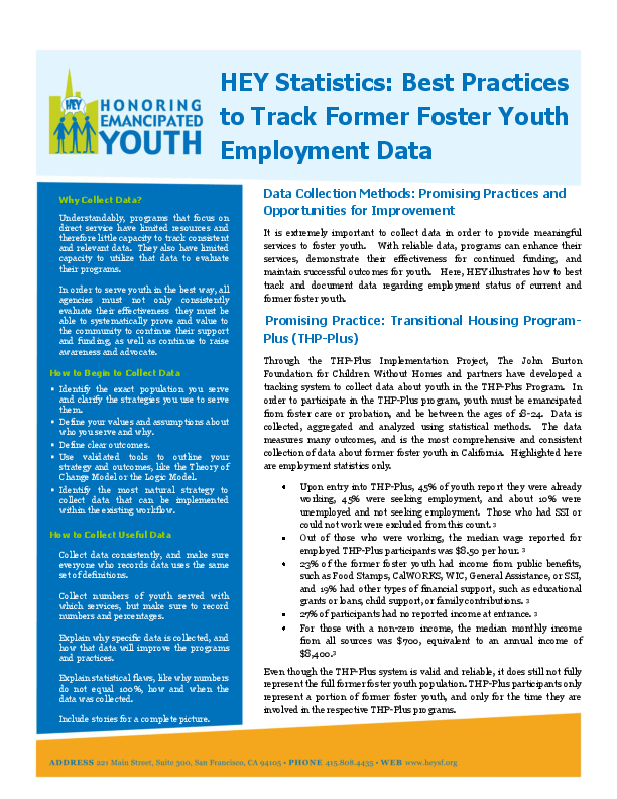HEY Statistics: Best Practices to Track Former Foster Youth Employment Data