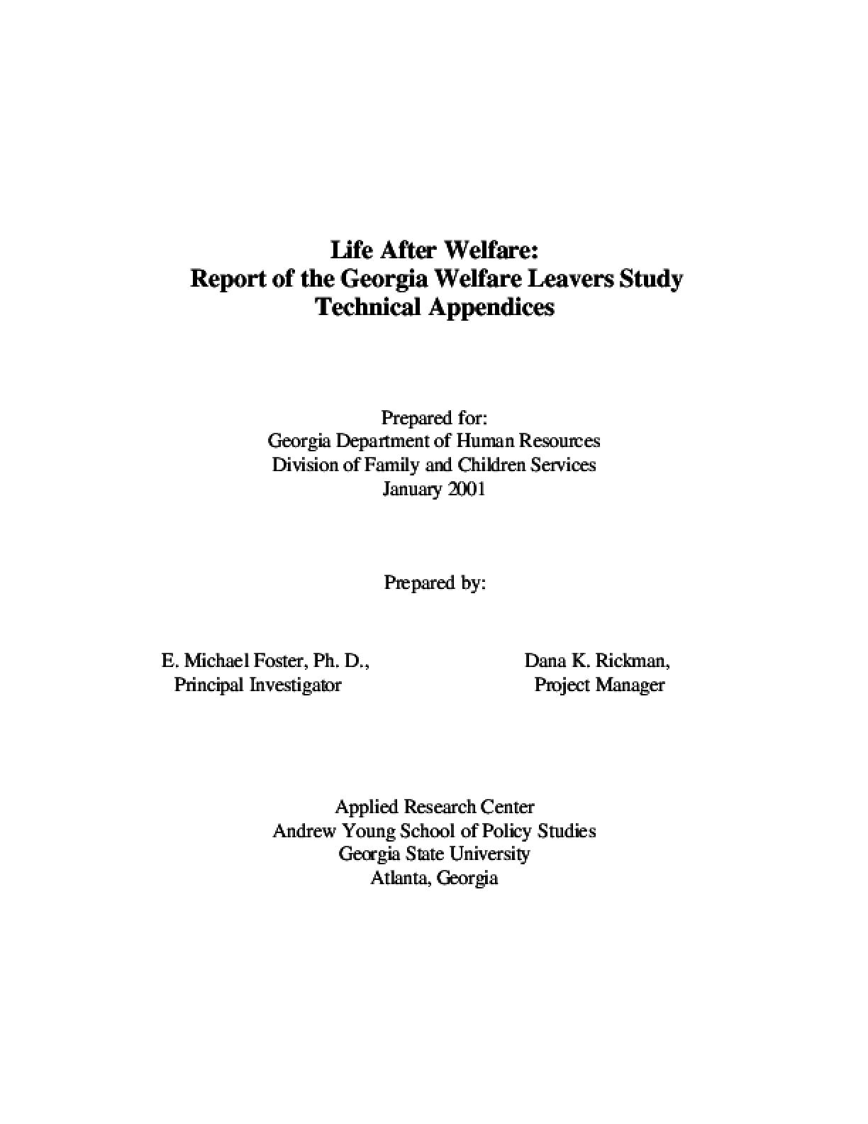 Georgia Welfare Leavers Study - (Life After Welfare) Technical Appendix