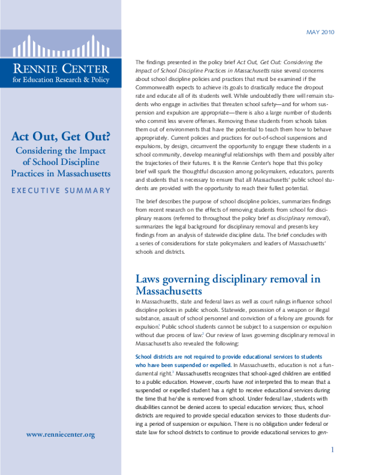Executive Summary: Act Out, Get Out? Considering the Impact of School Discipline Practices in Massachusetts