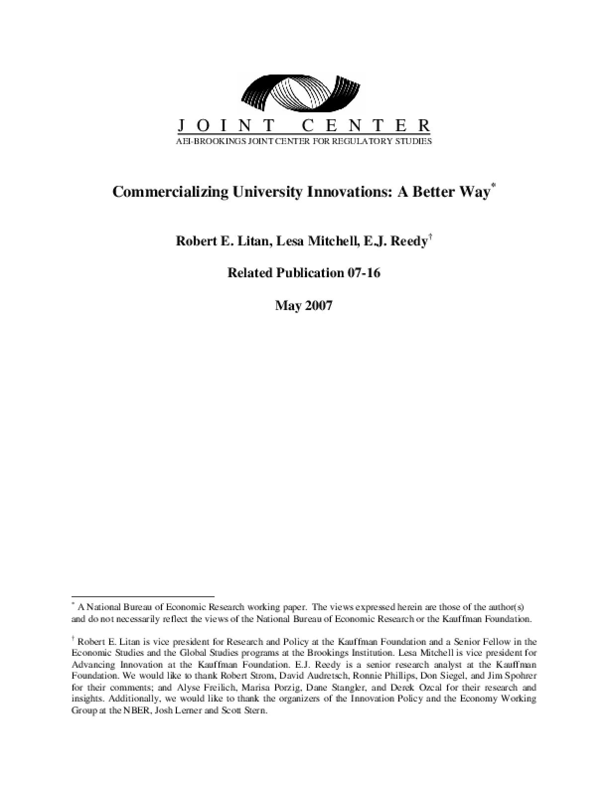 Commercializing University Innovations: A Better Way