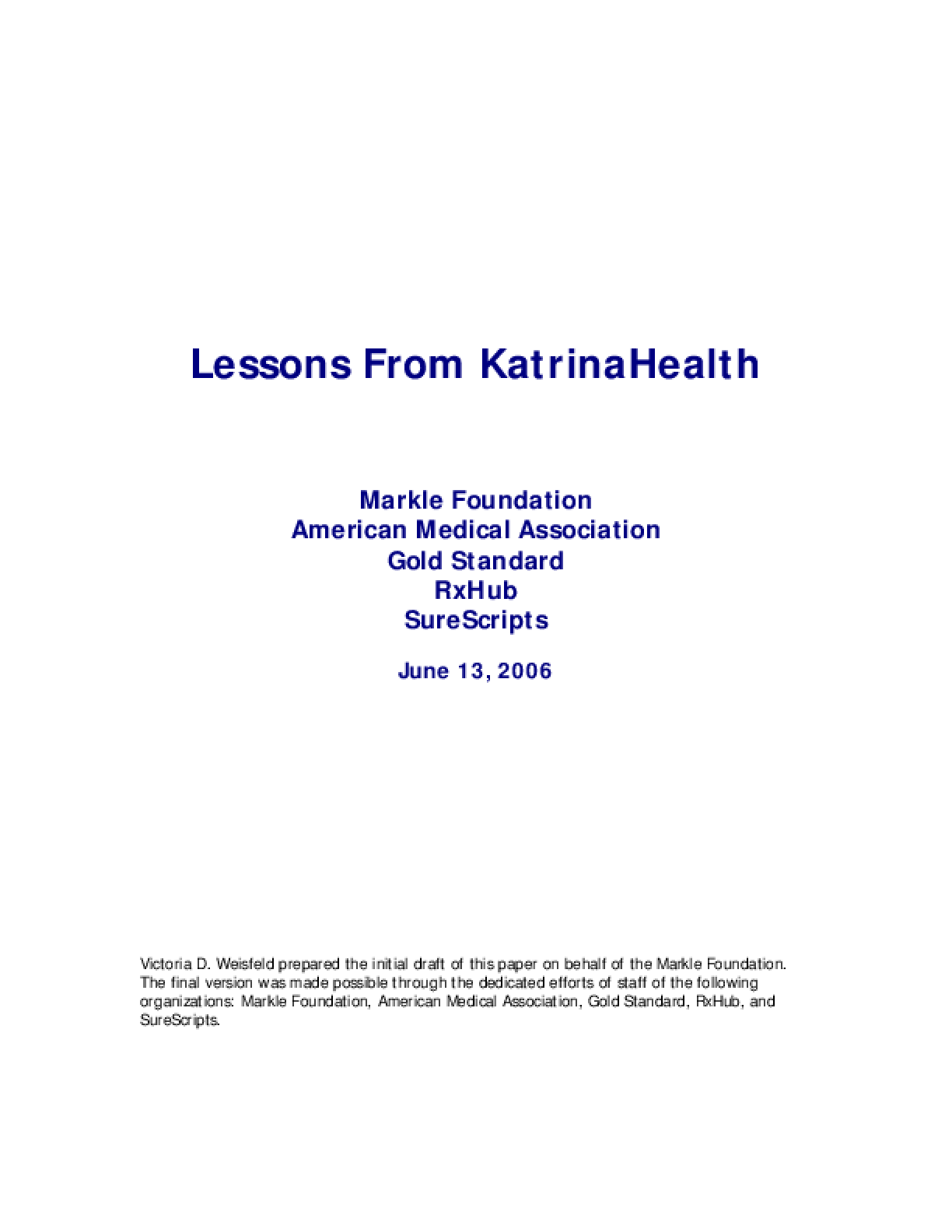 Lessons From KatrinaHealth
