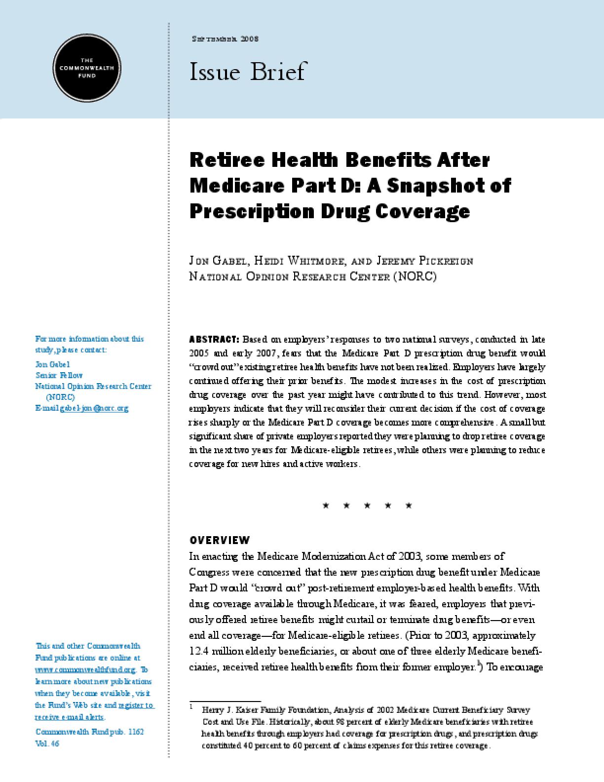 Retiree Health Benefits After Medicare Part D: A Snapshot of Prescription Drug Coverage