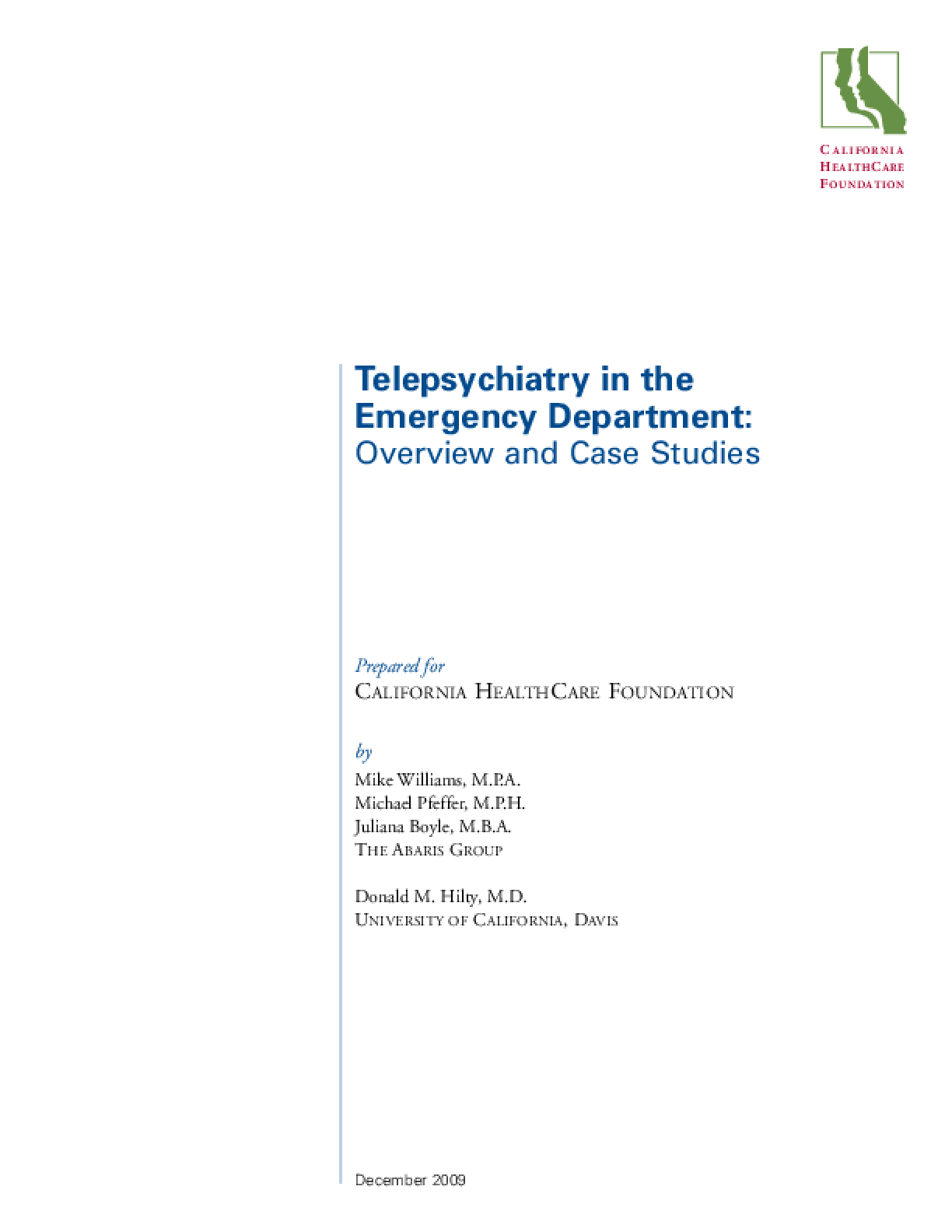 Telepsychiatry in the Emergency Department: Overview and Case Studies