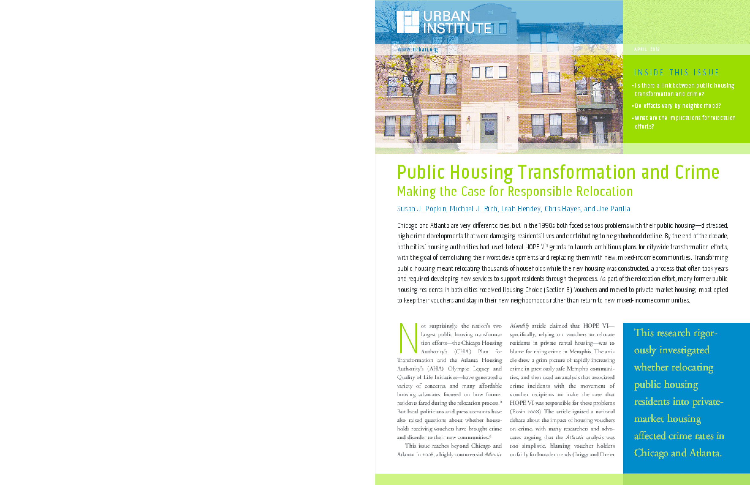 Public Housing Transformation and Crime: Making the Case for Responsible Relocation