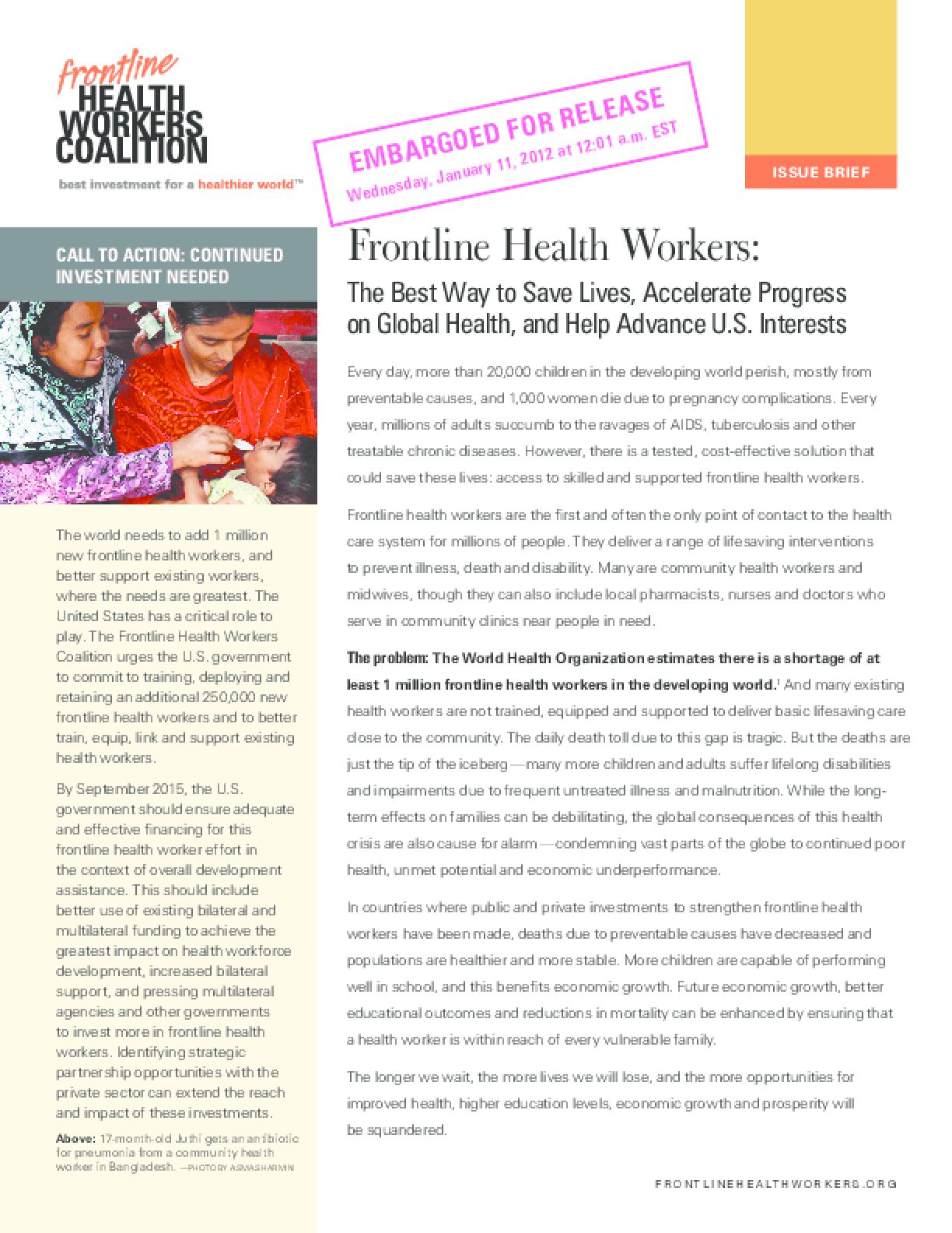 Frontline Health Workers: The Best Way to Save Lives, Accelerate Progress on Global Health, and Help Advance U.S. Interests