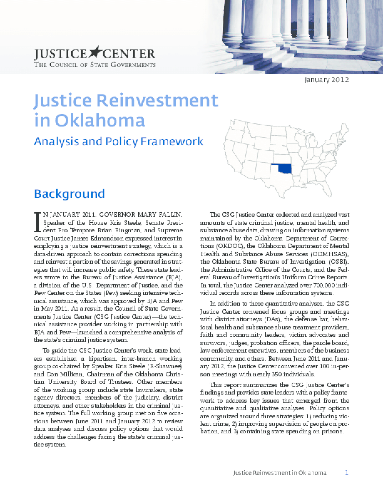 Justice Reinvestment in Oklahoma: Analysis and Policy Framework