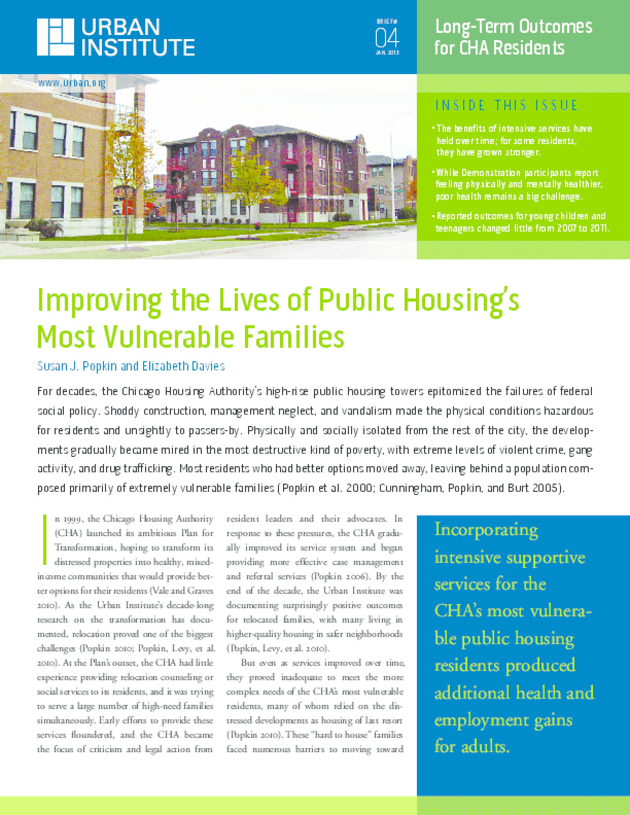 Improving the Lives of Public Housing's Most Vulnerable Families