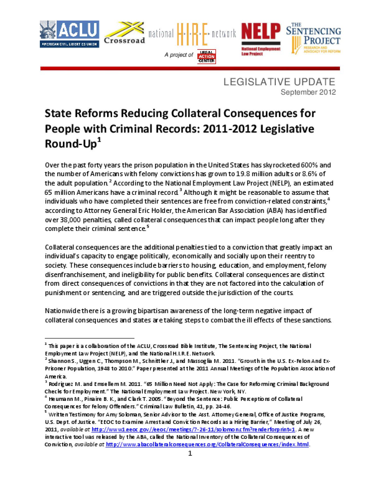 State Reforms Reducing Collateral Consequences for People with Criminal Records: 2011-2012 Legislative Round-Up