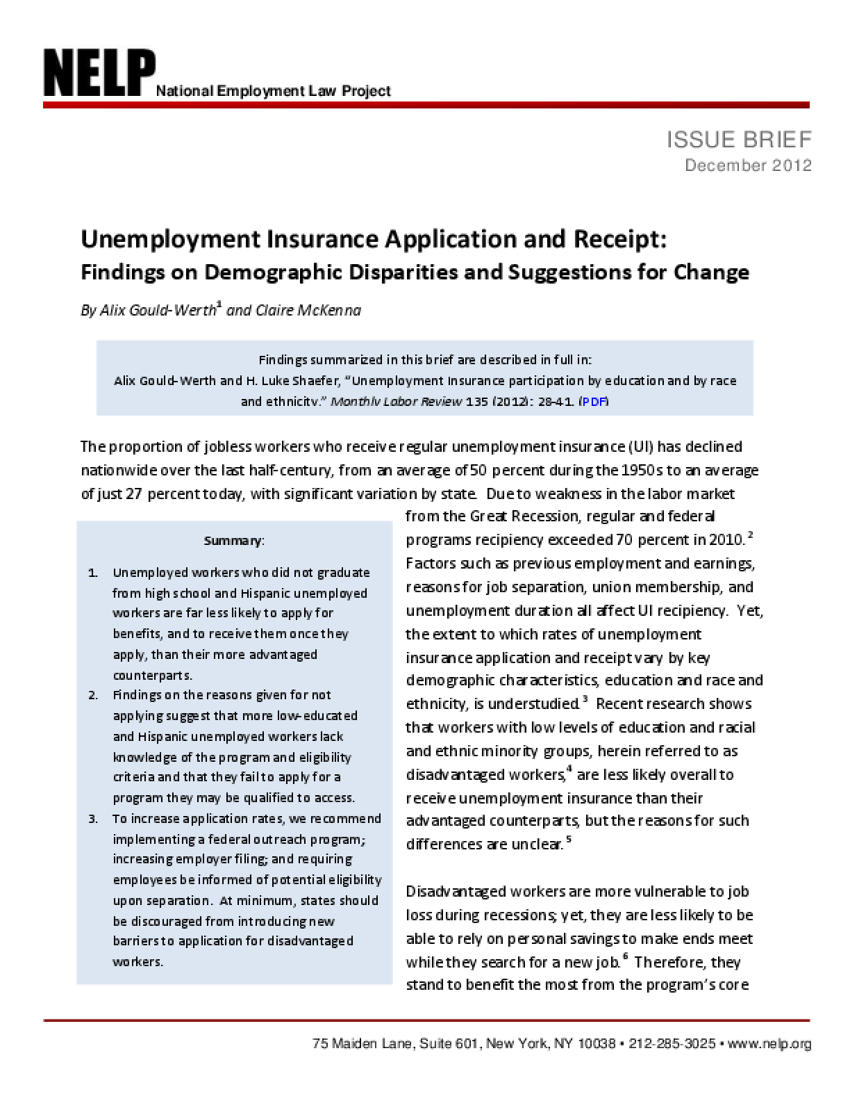 Unemployment Insurance Application and Receipt: Findings on Demographic Disparities and Suggestions for Change