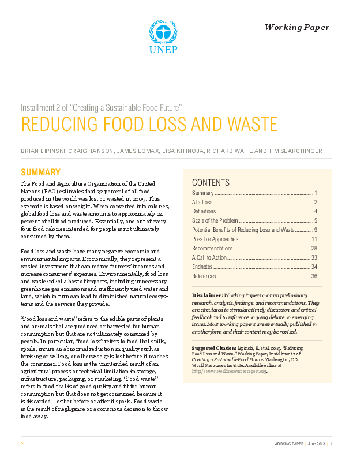 "Installment 2 of ""Creating a Sustainable Food Future"": Reducing Food Loss and Waste"