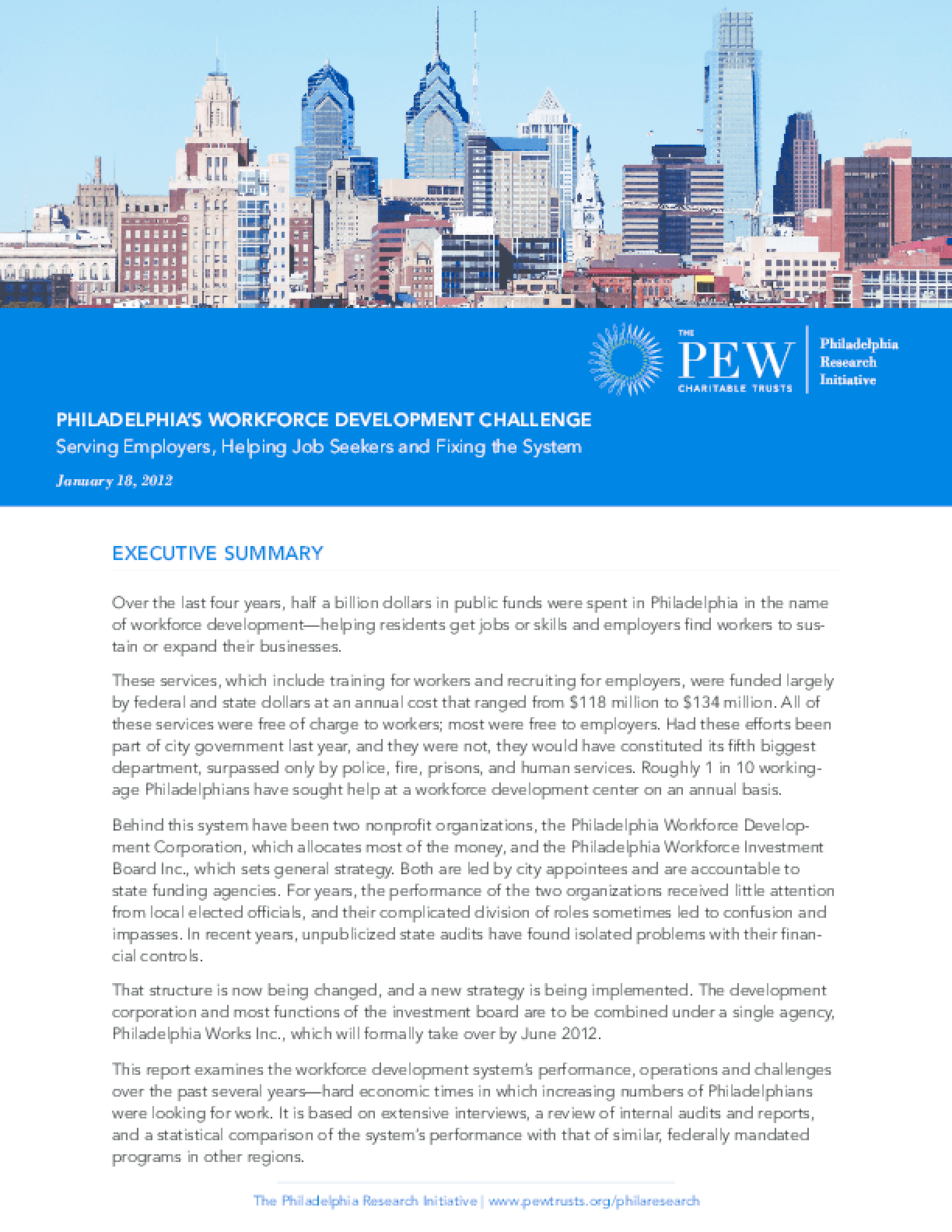 Philadelphia's Workforce Development Challenge: Serving Employers, Helping Jobseekers and Fixing the System