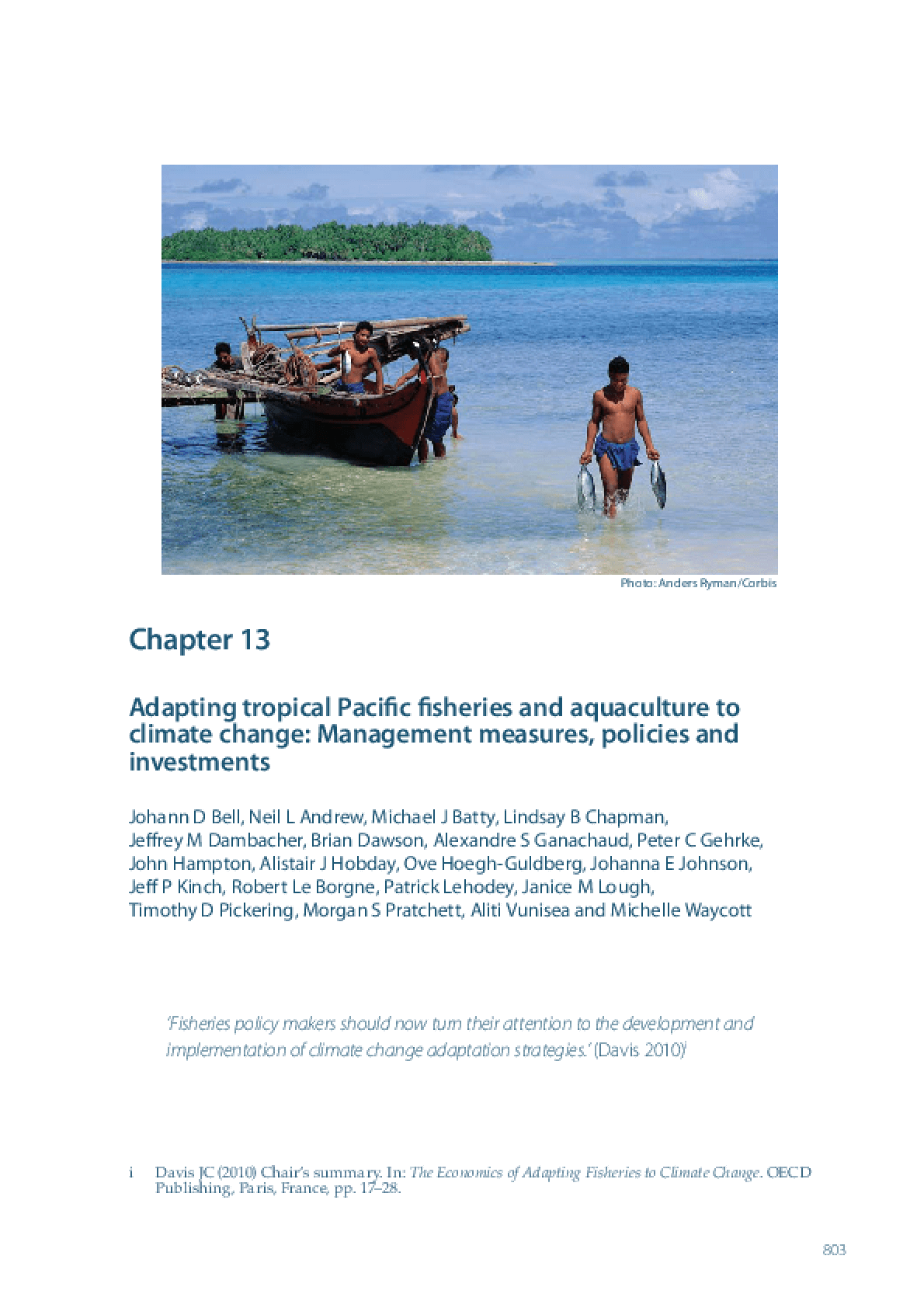 Adapting Tropical Pacific Fisheries and Aquaculture to Climate Change: Management Measures, Policies and Investments
