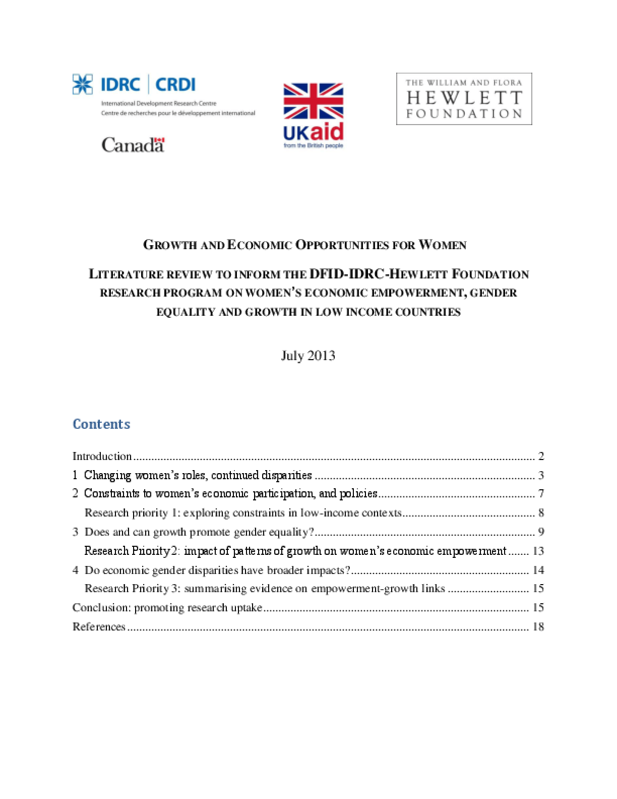 Growth and economic opportunities for women: literature review to inform the DFID-IDRC-Hewlett Foundation research program on women's economic empowerment, gender equality and growth in low income countries
