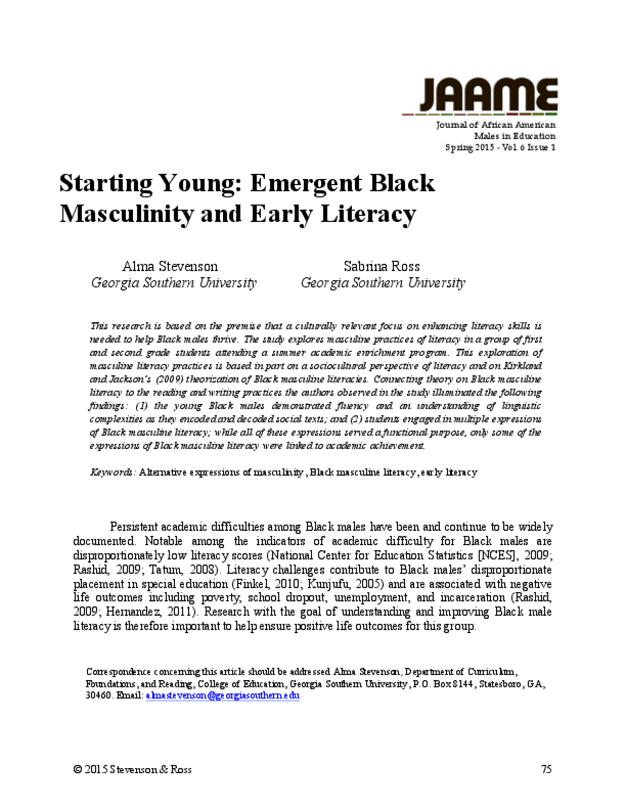 Starting Young: Emergent Black Masculinity and Early Literacy