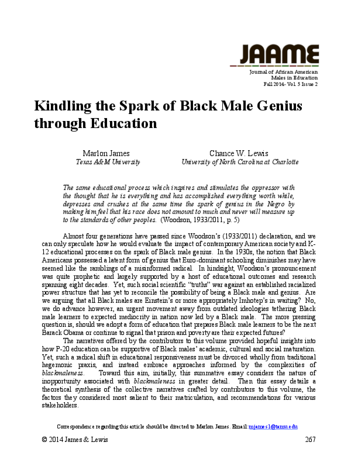 Kindling the Spark of Black Male Genius through Education