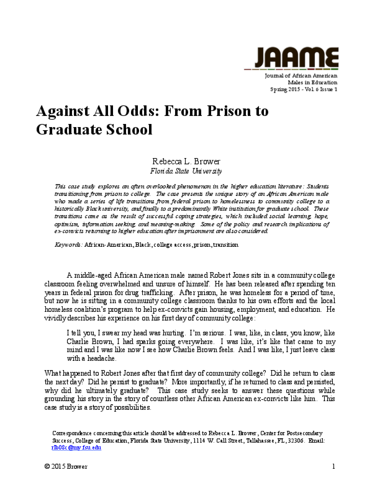 Against All Odds: From Prison to Graduate School