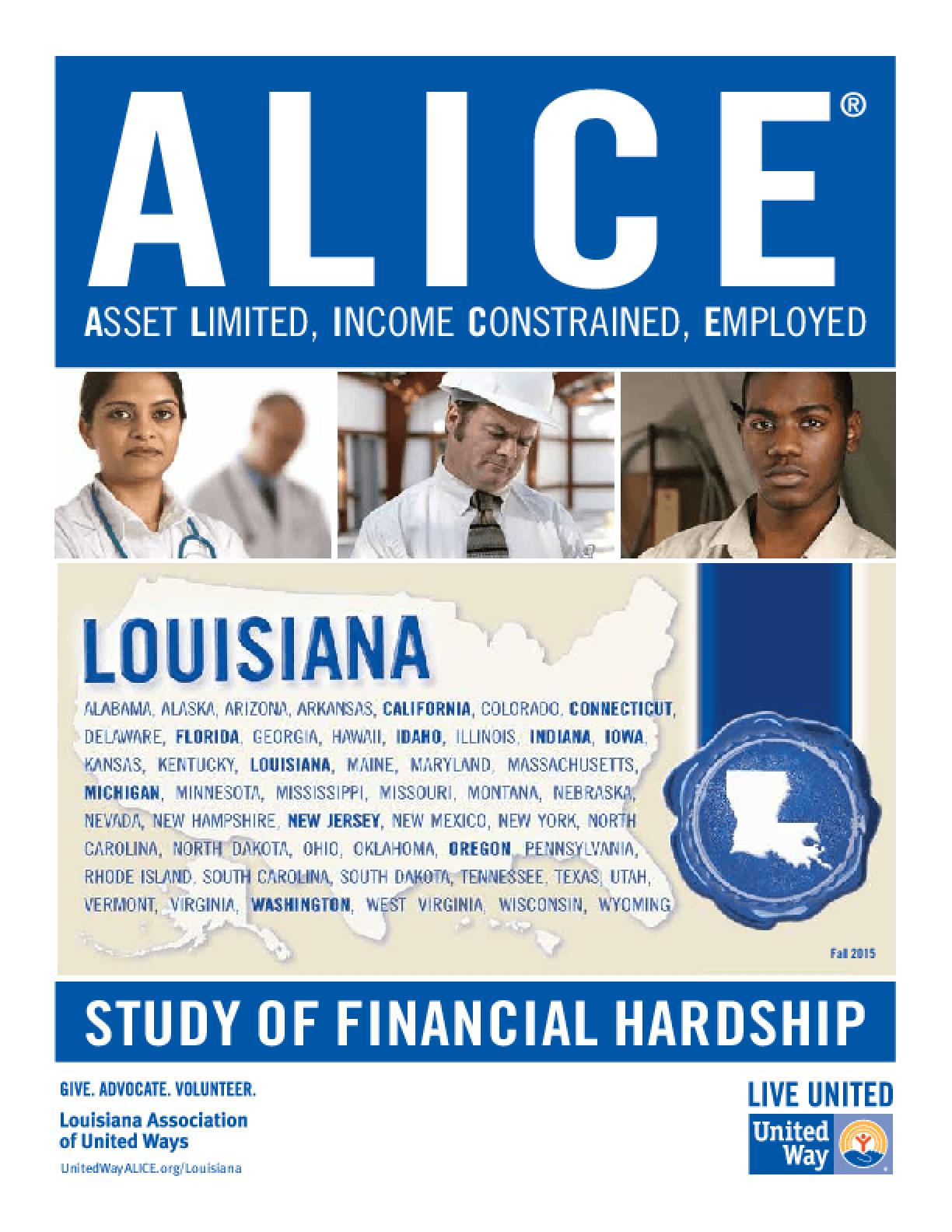 ALICE: Study of Financial Hardship-Louisiana