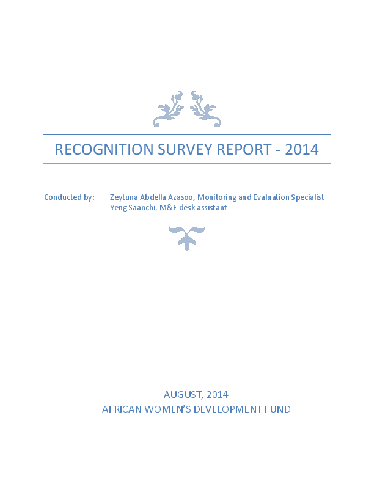 AWDF 2014 Grantee Recognition Survey Report