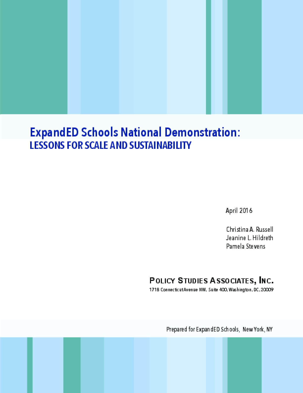 ExpandED Schools National Demonstration: Lessons for Scale and Sustainability