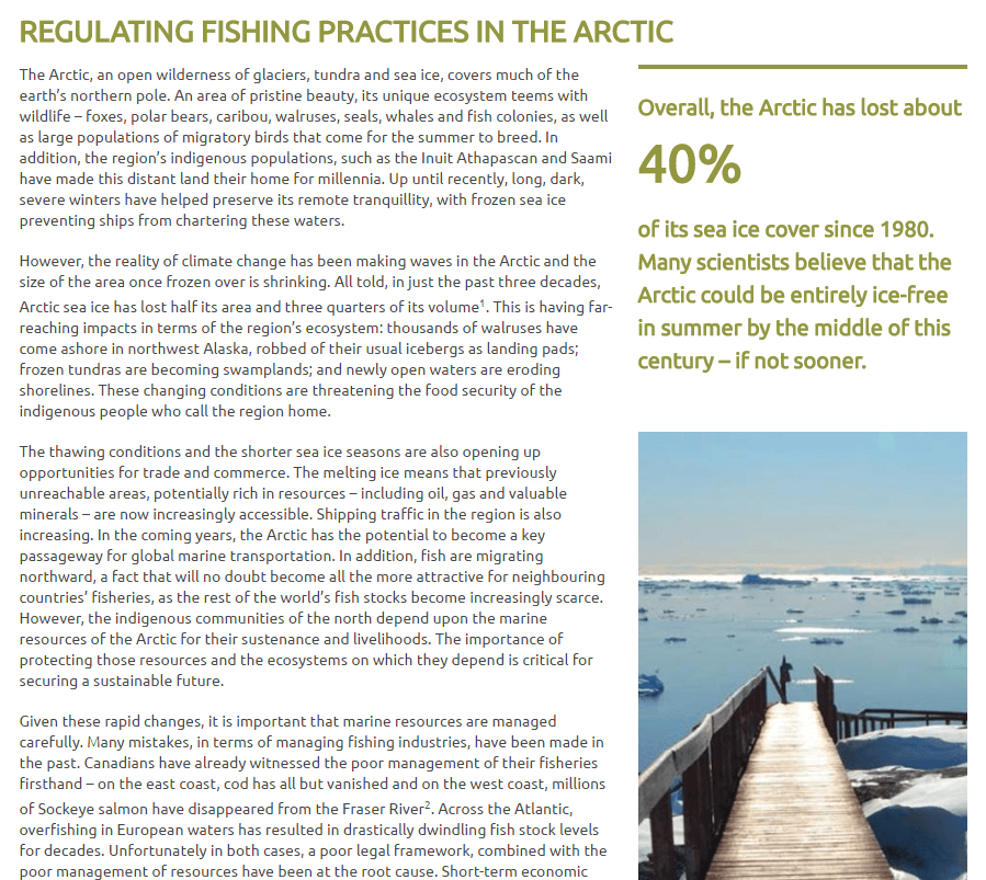 Regulating Fishing Practices in the Arctic