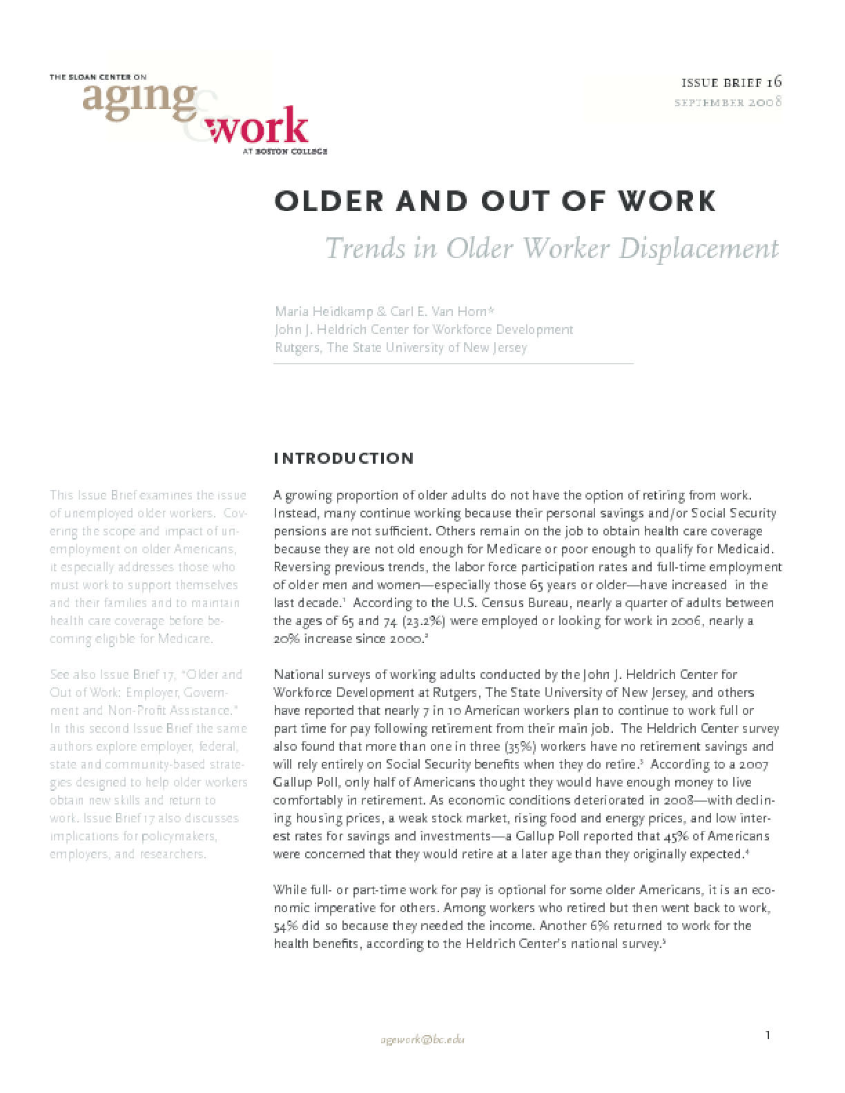 Older and Out of Work: Trends in Older Worker Displacement