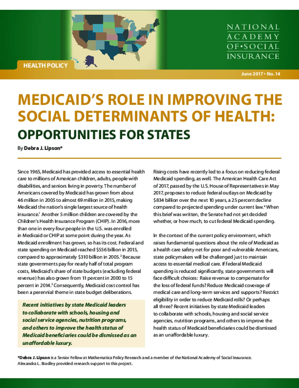 Medicaid's Role in Improving the Social Determinants of Health: Opportunities for States