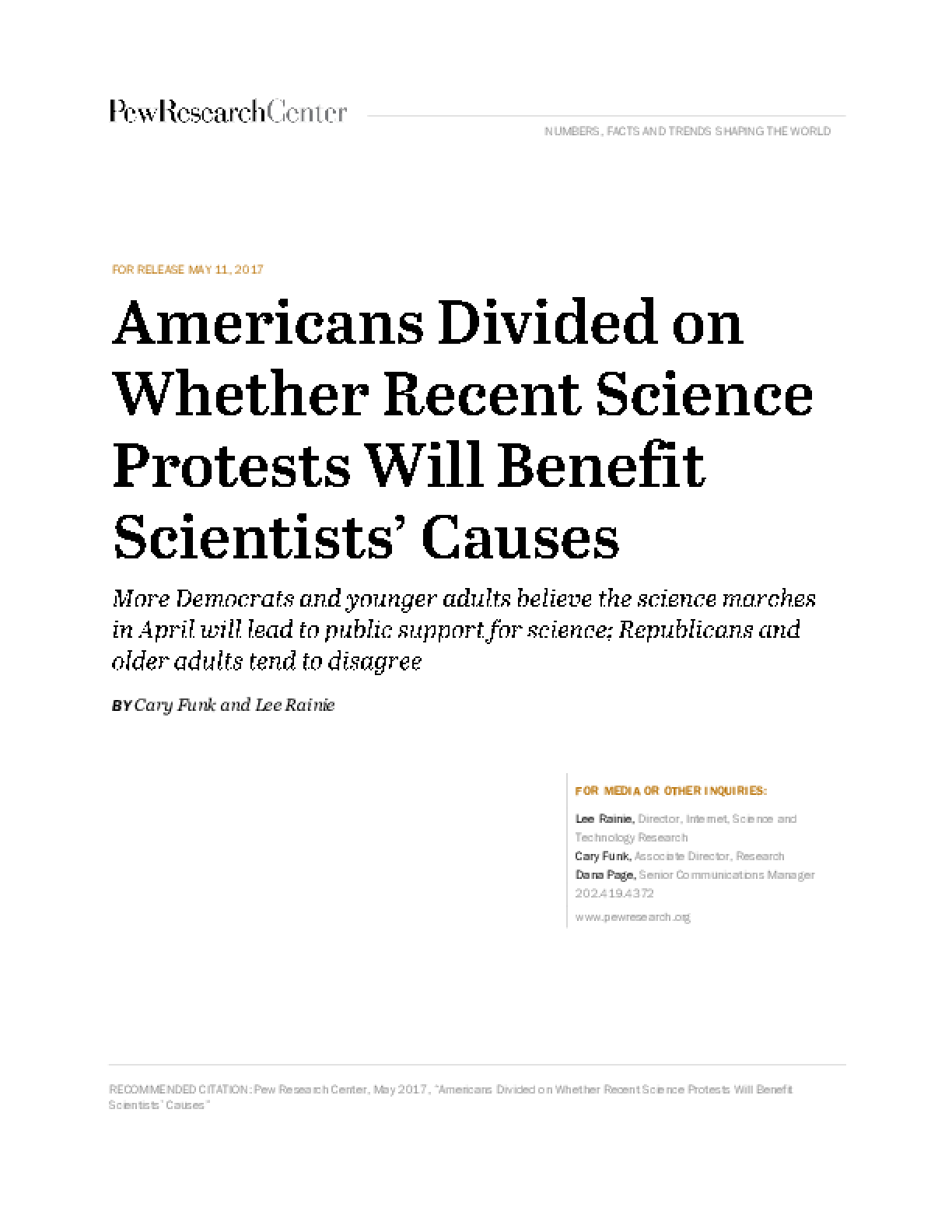 Americans Divided on Whether Recent Science Protests Will Benefit Scientists' Causes