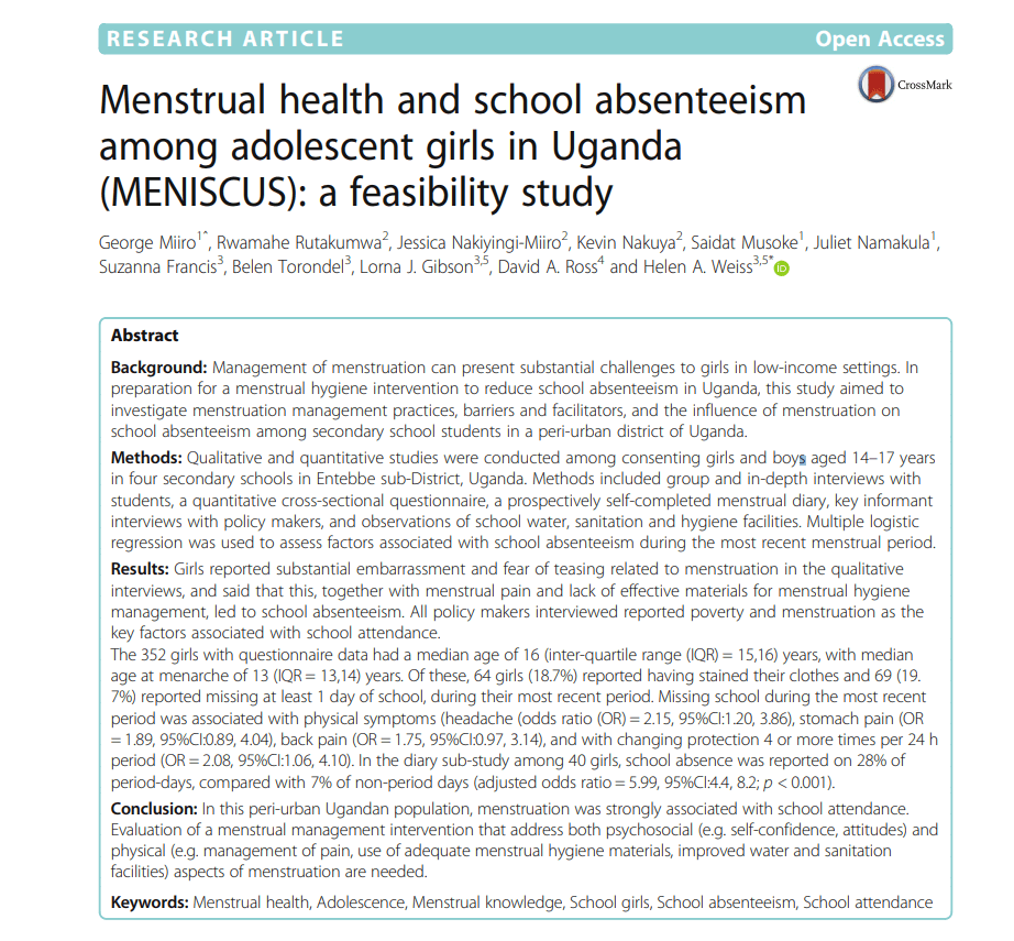 Menstrual health and school absenteeism among adolescent girls in Uganda (MENISCUS): a feasibility study