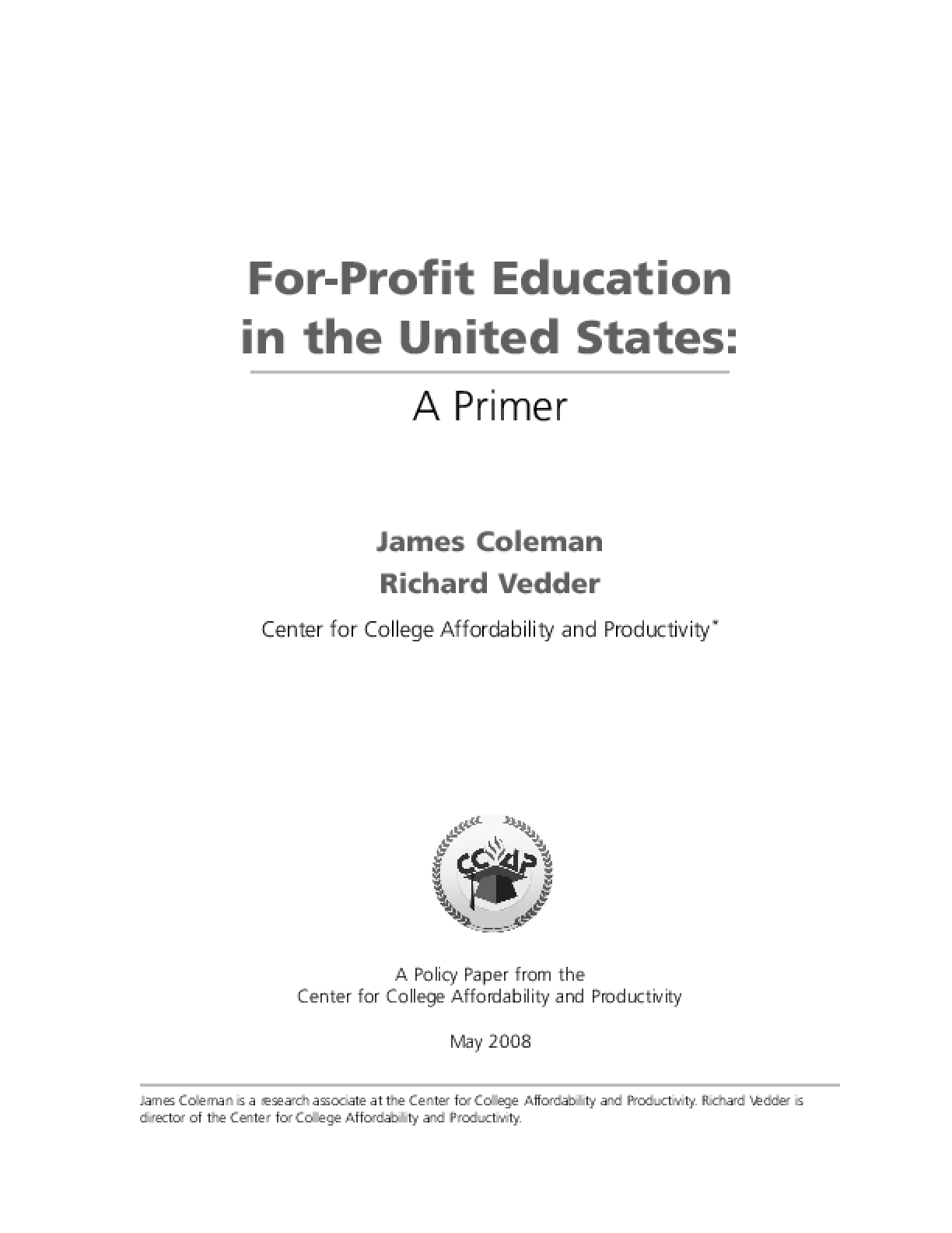 For-Profit Education in the United States: A Primer